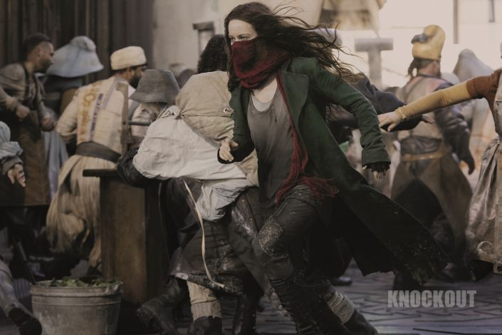 Hera Hilmar as Hester Shaw in Mortal Engines. The film is directed by Christian Rivers, and written by Fran Walsh, Philippa Boyens and Peter Jackson based on the novel by Philip Reeve.
